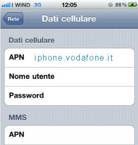 rete dati cellulare vodafone iphone 5